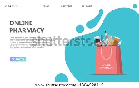 Drug store concept. Shopping bag with different medical pills, bottles, thermometer  and adhesive plaster in hand. Healthcare and shopping, drug store, pharmacy. Vector illustration for web design
