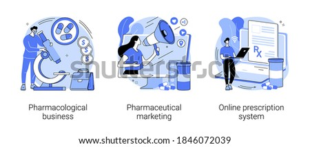 Drugs and medication industry abstract concept vector illustration set. Pharmacological business, pharmaceutical marketing, online prescription system, pharmacy network, drugstore abstract metaphor.