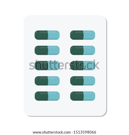 Drugs and Pills medicine tablet, icon capsule pile, clip art capsules, medicines, capsules, drug of painkillers, antibiotics, vitamins, healthcare medical flat illustration, isolated on white backgrou