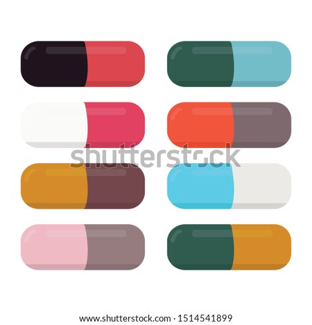 Drugs and Pills medicine tablet, icon capsule pile, clip art capsules, medicines, capsules, drug of painkillers, antibiotics, vitamins, healthcare medical flat illustration, isolated on white background