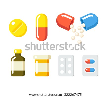 Shutterstock Drugs icons: pills, capsules ans prescription bottles. Medicine vector illustration in modern flat cartoon style.