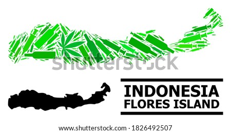 Drugs mosaic and usual map of Indonesia - Flores Island. Vector map of Indonesia - Flores Island is designed of randomized vaccine symbols, weed and wine bottles. Photo stock ©