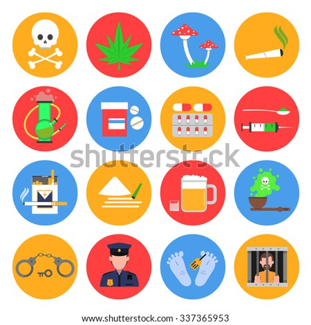 drugs round icons set with