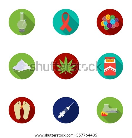 drugs set icons in flat style
