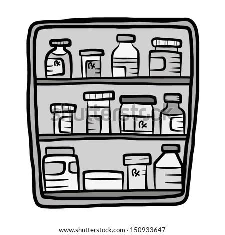 drugs shelf cupboard in drugstore gray scale cartoon