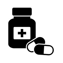 Drugstore. Medicine bottle and pills. Medicament. Black and white icon. Vector illustration