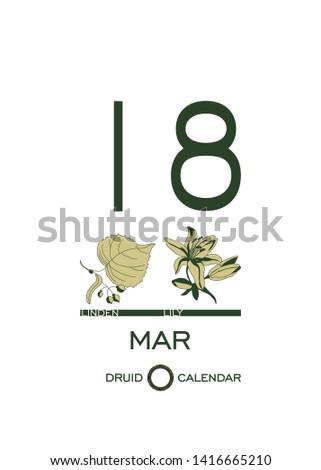 druid calendar of flowers and