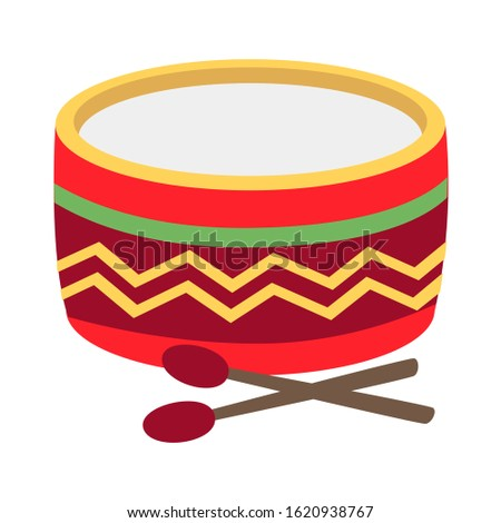 Drum and drum sticks on white background. Vector illustration in trendy flat style. ESP 10.