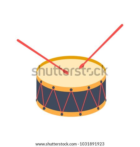 drum and drum sticks. vector illustration. flat icon on white background. cartoon.