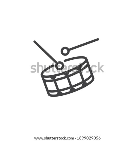 Drum and drumstick line icon. linear style sign for mobile concept and web design. Drum musical instrument outline vector icon. Symbol, logo illustration. Vector graphics Stockfoto ©