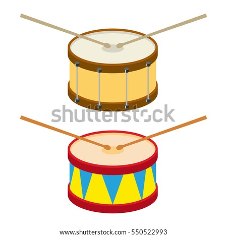 Drum, drum icon, musical instrument, drumming. Flat design, vector illustration. Vector.
