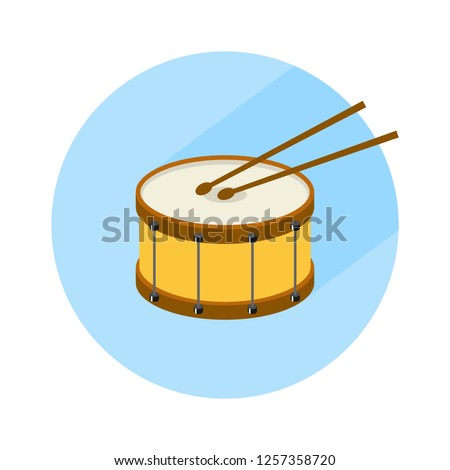 Drum, drum icon, musical instrument, drumming. Flat illustration