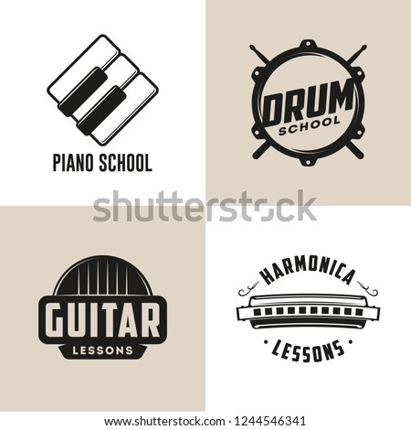 Drum, Harmonica, Guitar and Piano school isolated logos. Music lessons. Retro labels, badges, emblems. Vector Illustration