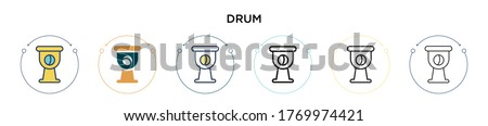 drum icon in filled  thin line