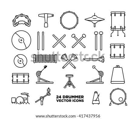 drum kit icon set