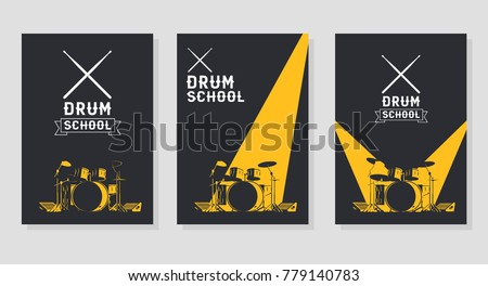 Drum School Poster Concepts. Crossed Drumsticks Emblem. Heavily Lighted Drum Kit on Stage.