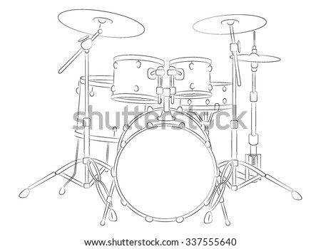 Drum Set Outline Vector Illustration Of A Illustrator Eight Compound Color