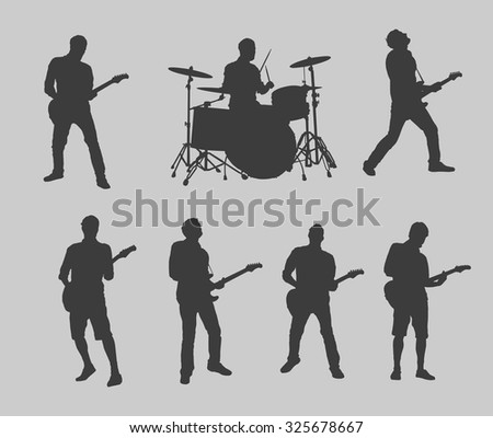 drummer and guitarman outlines