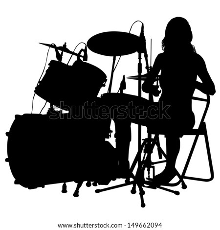Drum set  silhouette  vector  White Drum Set Silhouette