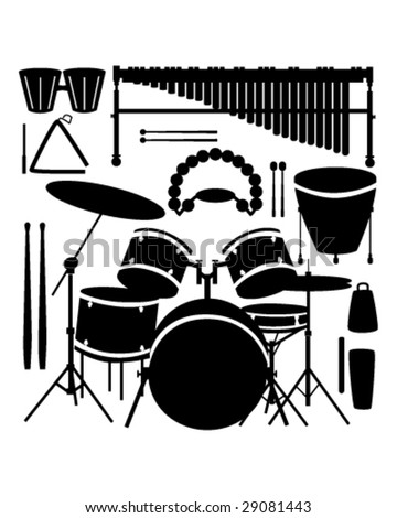 Drums, cymbals, and percussion instruments in vector silhouette