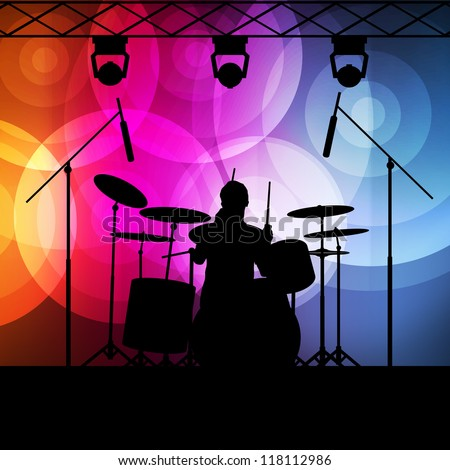 Drums player vector background with neon lights