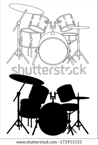 drums   silhouette and outline