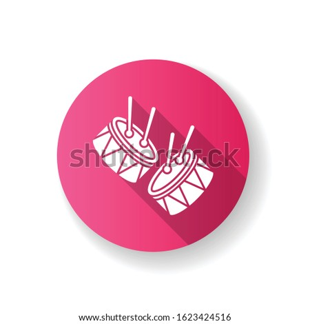 Drums with drumsticks pink flat design long shadow glyph icon. Musical instrument. Brazilian carnival. Samba. Festive parade. Musical movement. National holiday. Silhouette RGB color illustration