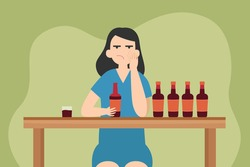 Drunk addiction vector concept: Young woman drinking alcohol while sitting with many bottles of alcohol