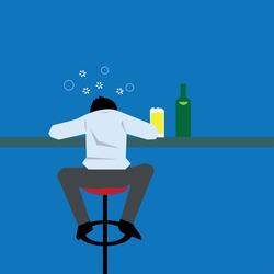 Drunk businessman drinking beer and sleeping at bar-vector