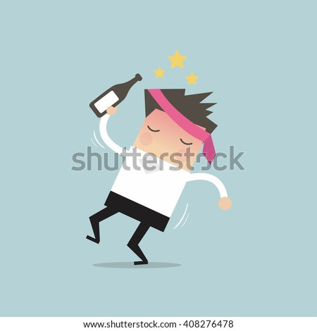 Drunk businessman with alcohol bottle vector Сток-фото ©