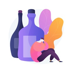 Drunk depressed man, alcoholic with hangover. Heavy drinking, alcoholism problem, booze abuse. Guy with alcohol addiction, psychological problem. Vector isolated concept metaphor illustration