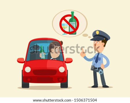 Drunk driver. Drunk driving is prohibited. A policeman wants to arrest a driver for drinking alcohol. Vector illustration, flat design, cartoon style. Isolated background.
