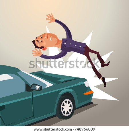 Drunk driver hit man by car. Road accident concept. Vector flat cartoon illustration