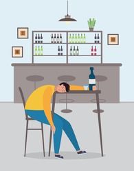 Drunk man cartoon character asleep in the bar, flat vector illustration. Alcohol addiction and drunkenness problem concept of banner with alcoholic after party.