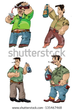 drunk men - cartoon