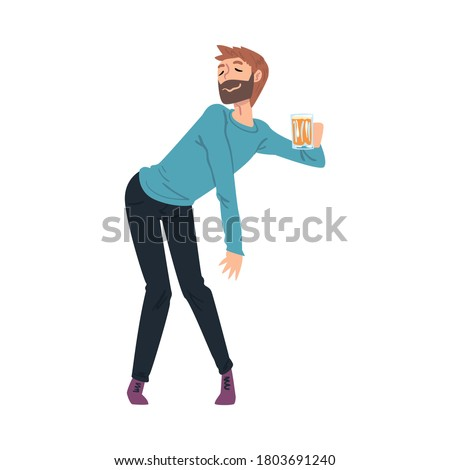 Drunk Young Man with Mug of Beer in his Hands, Boozy Drunk Man Walking Tipsy Screwed, Drunkenness, Bad Habit Concept Cartoon Style Vector Illustration Foto stock ©