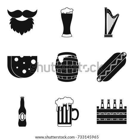 drunken binge icons set simple
