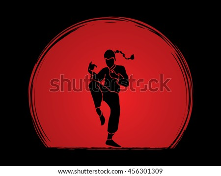 Drunken Kung fu pose designed on sunset background graphic vector.