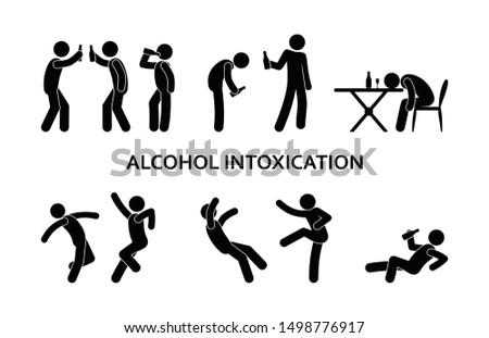 drunken man behavior, stick figure people  Сток-фото ©