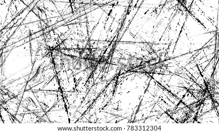 Dry Brush Strokes and Scratches Retro Grunge Background. Hand Drawn Old Scratched Seamless Pattern. Dirty Cracked Wall Texture. Concrete, Chalk Print Design Background. Stock photo ©