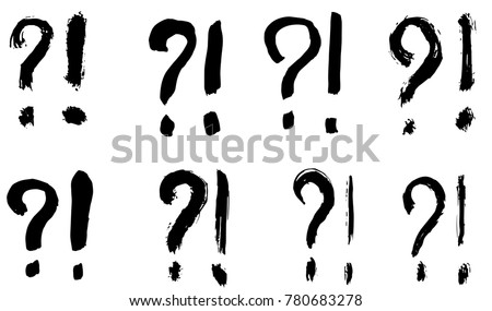 Dry brush strokes, hand drawn vector question marks and exclamation signs.