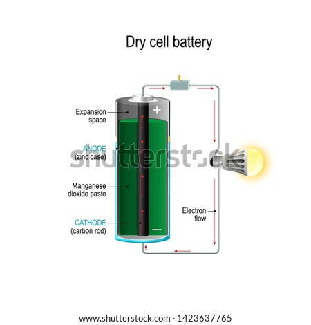 Dry cell. Cross section of battery with cathode, anode and Manganese dioxide paste. light bulb, switch and Electrons flow. Vector illustration for science and educational use.