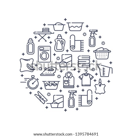 Dry cleaning concept with outline icons for laundry, dry cleaning, housekeeping services. Flat vector design. Modern graphic design. Home appliance. House laundry. Laundry detergent.