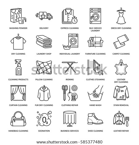 Dry cleaning, laundry line icons. Launderette service equipment, washing machine, clothing shoe and leaher repair, garment ironing and steaming. Washing thin linear signs.