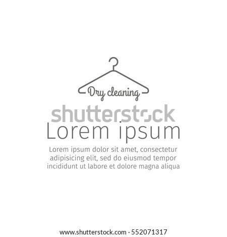 Dry cleaning service. Clothes hanger symbol. Line icon. Vector sign.