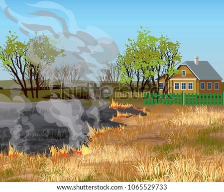 dry grass field in fire near
