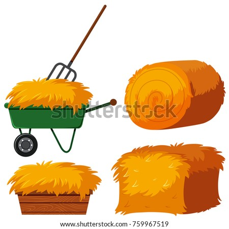 Dry hay in bucket and wagon illustration