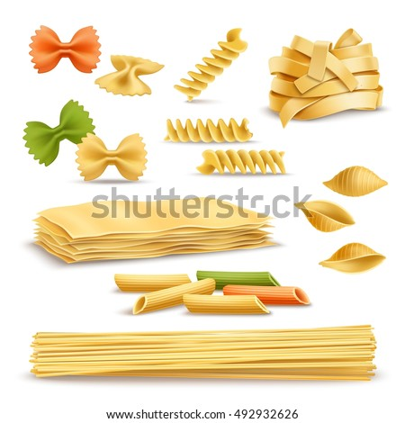 Dry pasta types assortment of spaghetti shells colored butterflies and fusilli springs realistic icons collection vector illustration