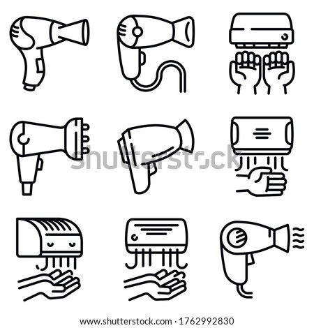 Dryer icons set. Outline set of dryer vector icons for web design isolated on white background