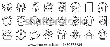 Dryer, Washing machine and dirt shirt. Laundry line icons. Laundromat, hand washing, soap bubbles in basin icons. Dry t-shirt, laundry service, dirty smudge spot. Clean clothes. Vector